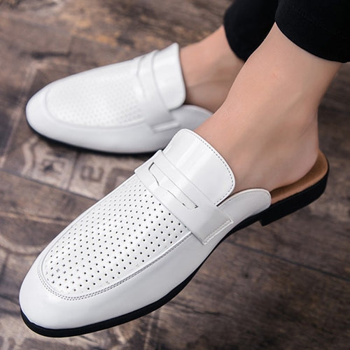 Men's Woven Leather Penny Slippers Open Back Slip-Ons