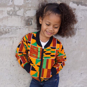 African Style Dashiki Bomber Jacket Unisex Girls and Boys With Pockets