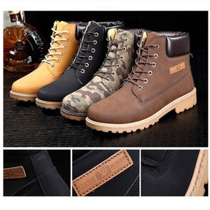 Men's Outdoor Waterproof Rubber Leather Snow Boots