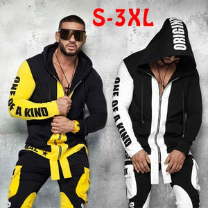 Two Piece Men's Long-Sleeved Pullover Slim Fit Letter Print Hoodie And Pants Set