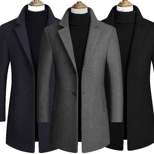 Men Long Sleeves Turn Down Collar Slim Fit Trench Overcoat