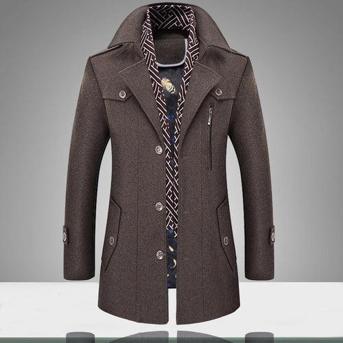 Men's Woolen Warm Cotton-Padded Coat