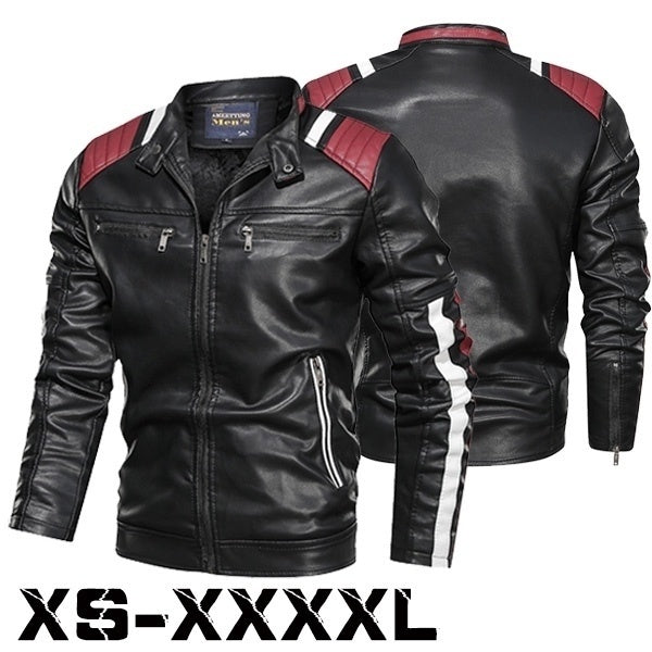 Men's Slim Color Blocked Motorcycle Jacket