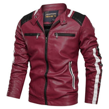 Load image into Gallery viewer, Men's Slim Color Blocked Motorcycle Jacket