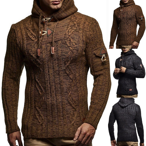 Men's Winter Croissant Button High Collar Hooded Twisted Knit Sweater