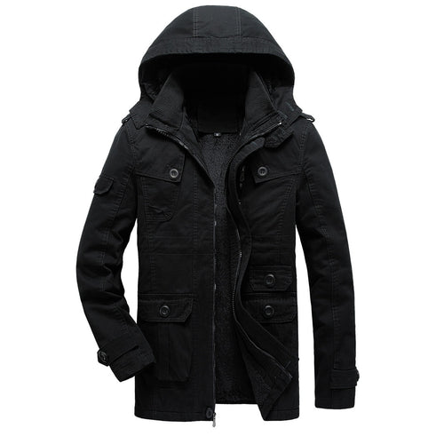 Men Hooded Cotton Padded Thicken Warm Coat