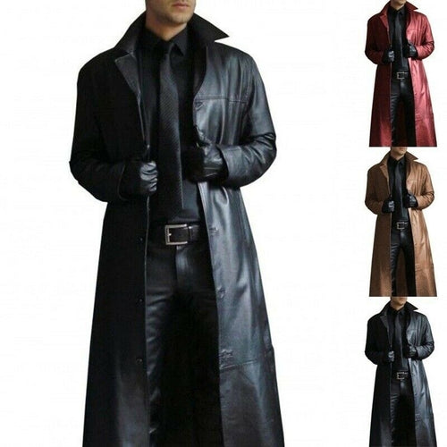 Men Winter Long Turn Neck Leather Coat