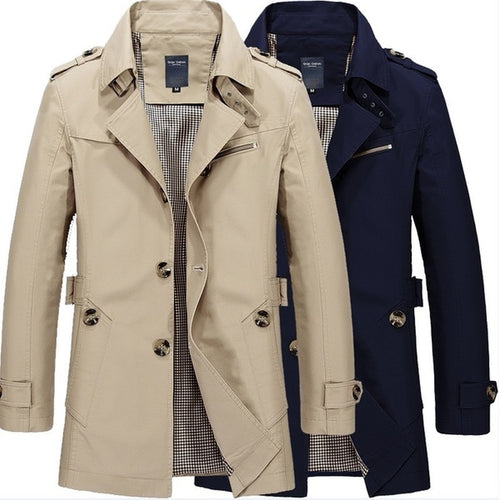 Men's Casual Thin Long Sleeve Trench Coat