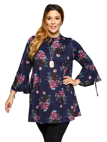 Xehar Women's Plus Size Stylish Mock Neck Floral Print Tunic TopXehar Women's Plus Size Stylish Mock Neck Floral Print Tunic Top - kats closet1