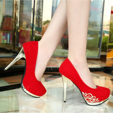 Load image into Gallery viewer, Sexy High Heels Women Elegant Suede Wedding Shoes (US Size 4.5-8, Red, Black) - kats closet1