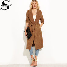 Load image into Gallery viewer, Sheinside Brown Suede Self Tie Duster Trench Coat 2017 Long Sleeve Wrap Long Outer With Belt Women Casual Winter Workwear Coat - kats closet1