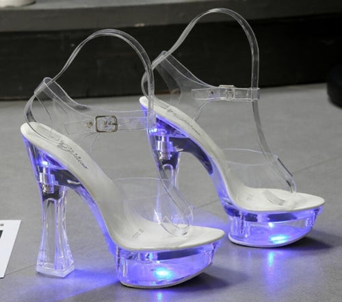 6 Color Square Heel Light Up Glowing  Luminous Clear High Heel Shoes