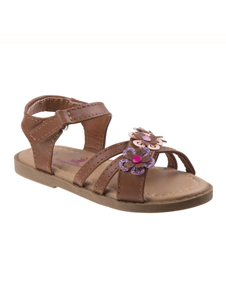 Rugged Bear Girls' Multicolor With Strappy Flowers Sandals