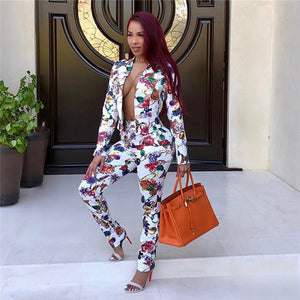 2 Piece Floral Print Business Suit - kats closet1