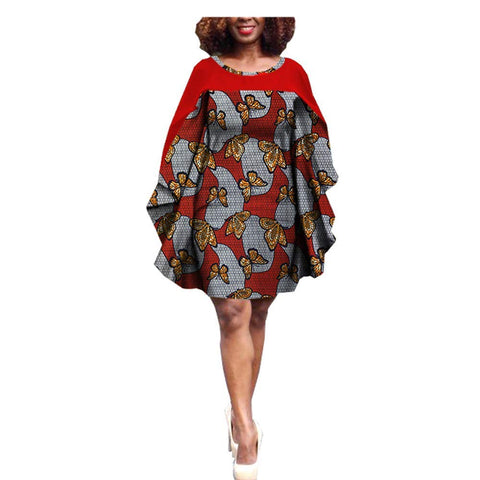 African Print Batwing Sleeve Knee Length Dress - kats closet1