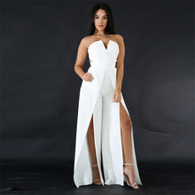 Load image into Gallery viewer, V Neck Off Shoulder Elegant High Waist High Split Wide Leg Jumpsuit