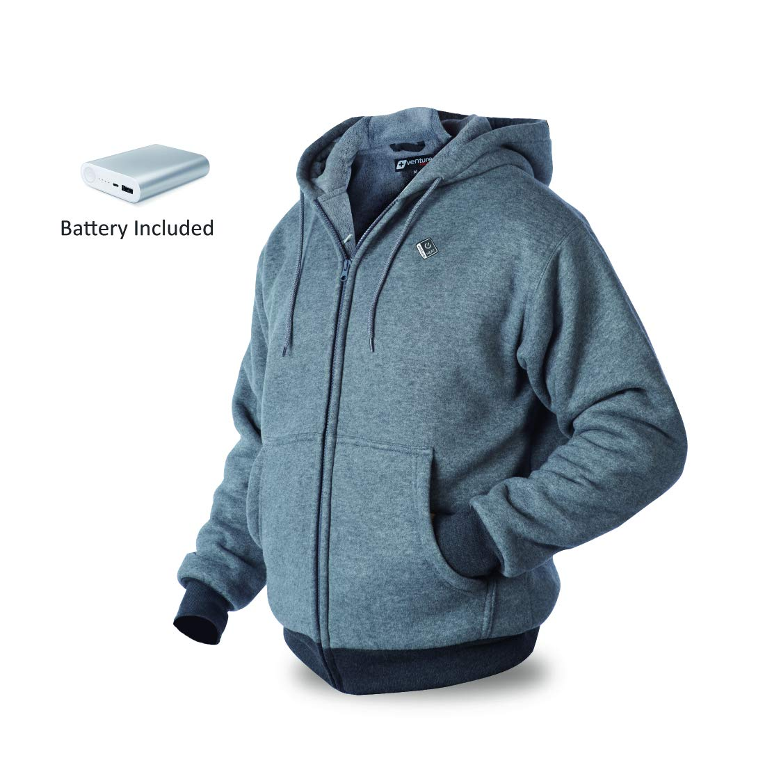 7beace475c130 Unisex-Adult 5V USB Power Bank Battery Heated Hoodie (Black, Medium ...