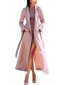 Curve Women's Long Sleeve Belted Satin Maxi Duster Coat - kats closet1