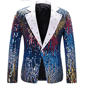 Men's Slim Fit Suit Jacket Casual One Button Shiny Sequin Party Wedding Blazer - kats closet1