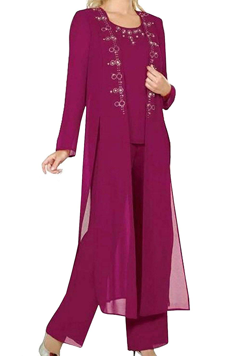 43a16b54f Load image into Gallery viewer, Fitty Lell Women's Burgundy Chiffon 3