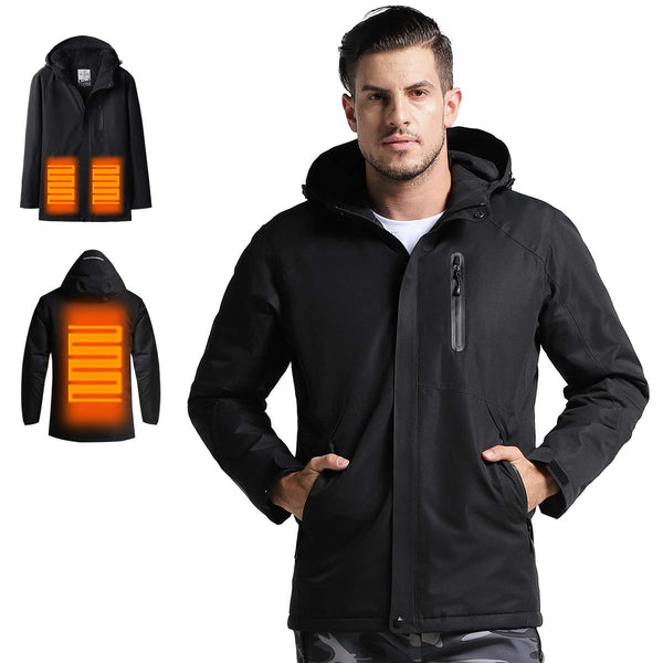 Men's Heated Jacket with Hood Waterproof Wind Resistant and Anti-fouling(Power Bank not Included) - kats closet1