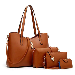 Fashion Synthetic Leather Handbags With Purse And Card Holder