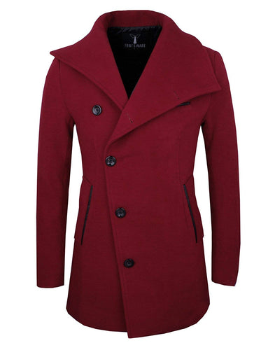 Tom's Ware Mens Slim Fit Unbalanced Single Breasted Button Wool Pea Coat - kats closet1