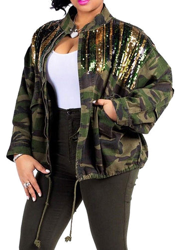 sexycherry Camo Casual Jacket Camouflage Lightweight Long Sleeves Army Military Coat for Women - kats closet1