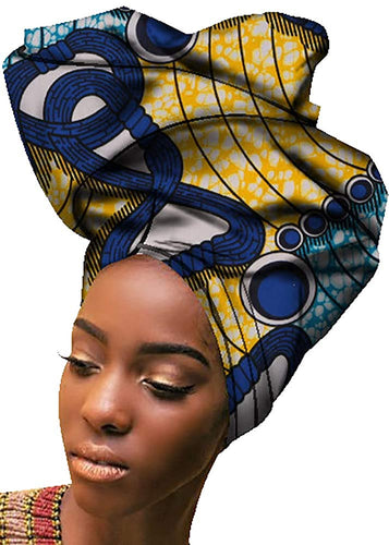 Extra Long Traditional African Wax Print Head Scarf Turban Wrap 71×20 inches - kats closet1