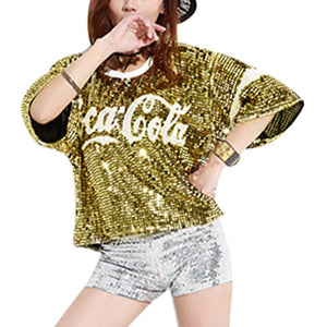 Fashion Dazzling Sequins Sparkle Summer T-Shirt Short Sleeve - kats closet1