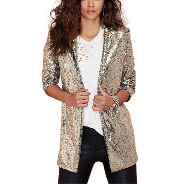 Sparkly Sequins Pocket Side Open Front Casual Coat Jacket - kats closet1