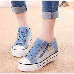 Women's Fashion Canvas Shoes Sneakers thick-soled shoes - kats closet1