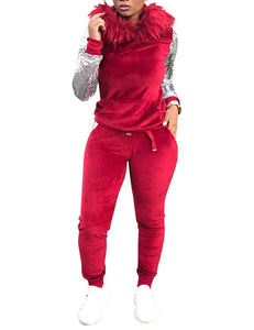 Velvet Sequin 2 Piece Outfits Pullover Hoodie and Long Pants Set - kats closet1