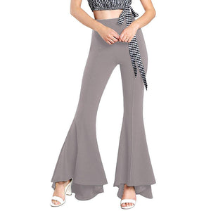 Women Ruffle Bell Bottoms Elastic Waist Solid Fit and Flare Pant Slim Fit Trouser - kats closet1