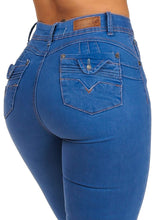 Load image into Gallery viewer, Design 4 Button High Rise Dark Denim Blue Skinny Jeans - kats closet1