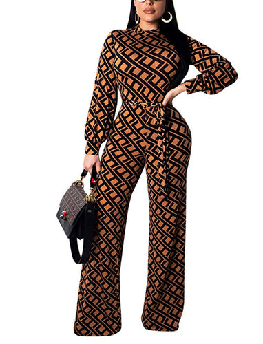 Wide Leg Elegant Long Sleeve Pattern Jumpsuit With Belt - kats closet1