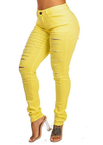 Solid Butt Lifting Distressed 1 Button Skinny Leg Jeans - kats closet1