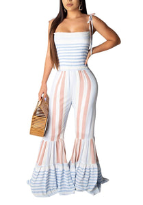 Elegant Spaghetti Strap Sleeveless Polka Dot Print One-Piece Loose Wide Leg  Jumpsuit