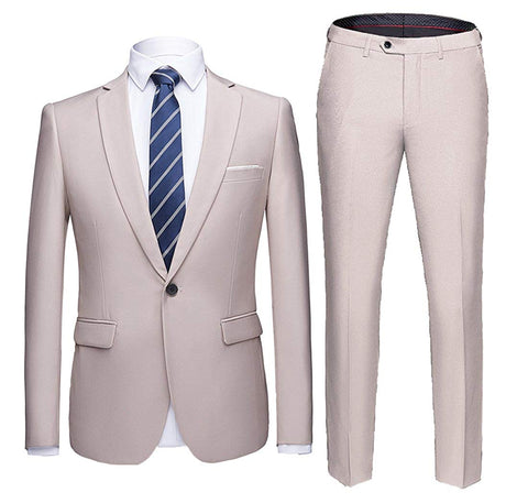 WULFUL Men's Suit One Button Slim Fit 2 Piece Suit for Men Casual/Formal/Wedding Party/Tuxedo