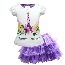 Load image into Gallery viewer, Little Girl Unicorn T-Shirt and Cute Tutu Lace Skirt Set