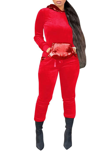 Adogirl Women Velour Glitter Sequin Sweatsuit Hoodies + Sweatpant 2 Piece Outfit - kats closet1