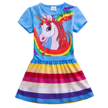 Load image into Gallery viewer, Toddler Girl Short Sleeve Rainbow Pony Cartoon Dress