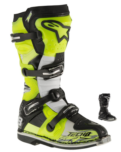 Men's Off-Road Motorcycle Boots - Black/Red/Yellow/White / 9