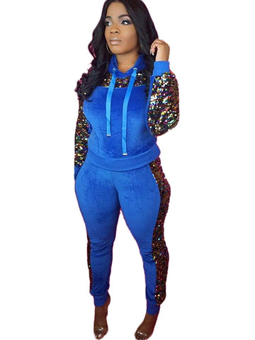 Two Pieces Sequin Drawstring Hoodie Sweat Suit - kats closet1