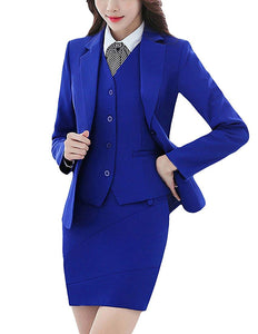 MFrannie Women Long Sleeve Blazer and Skirt Office Lady 2 Piece Suit Set