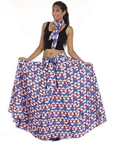 African Elastic Waist Flared Skirt One Size with Bow Tie - kats closet1
