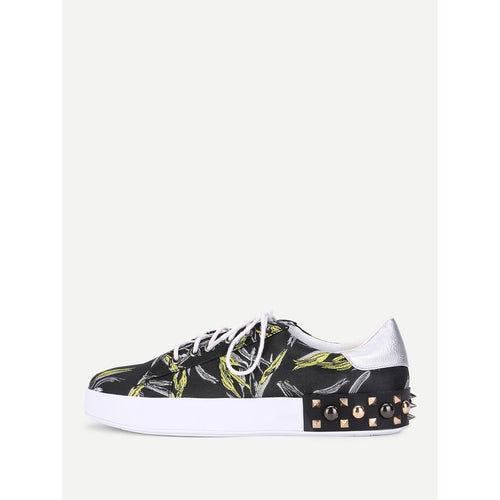 Studded Detail Lace Up Slip On Sneakers - kats closet1
