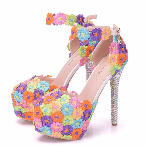 New handmade Sweet Round toe shoes for women Multi Flowers high heel wedding shoes crystal thin heels Plus Size bride Shoes - kats closet1