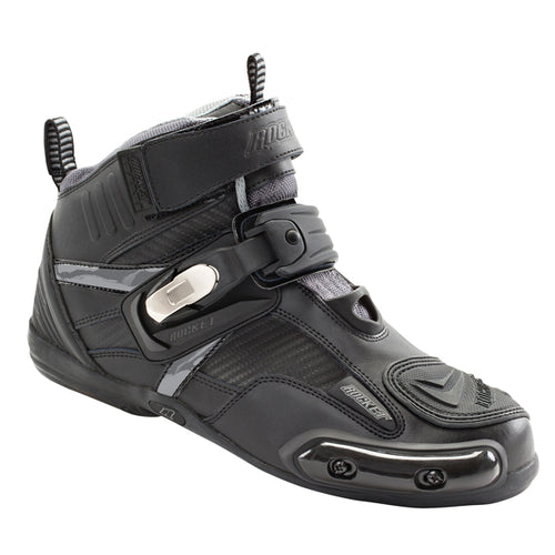 Mens Black/Grey Leather Motorcycle Boots - kats closet1