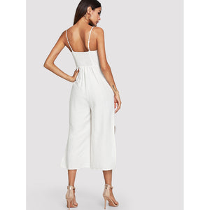 Button and Pocket Front Slit Wide Leg Jumpsuit - kats closet1